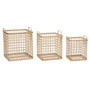Basket w/handle, square, bamboo, nature, s/3