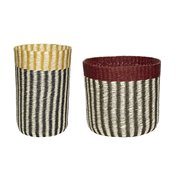 Basket w/handle, yellow/black/red/nature, s/2